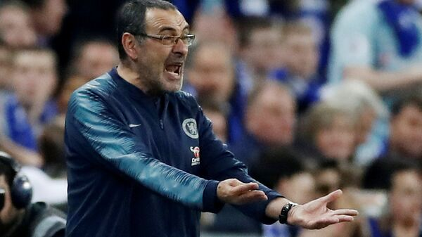 Carabao Cup Final, Manchester City v Chelsea, Chelsea manager Maurizio Sarri reacts after Kepa Arrizabalaga (not pictured) refuses to be substituted... - Sputnik Türkiye