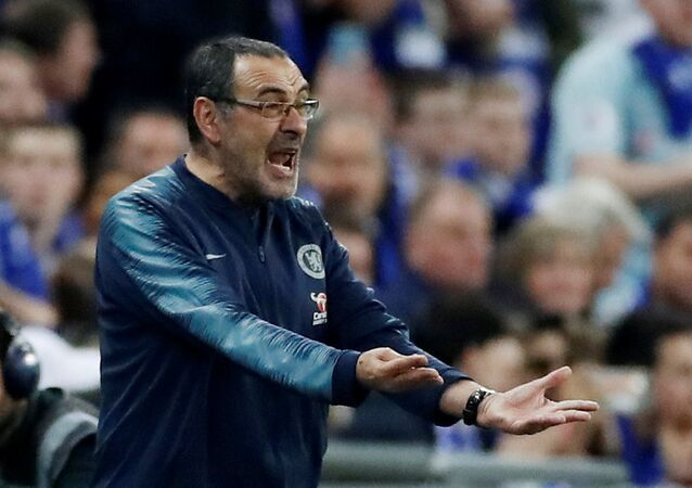 Carabao Cup Final, Manchester City v Chelsea, Chelsea manager Maurizio Sarri reacts after Kepa Arrizabalaga (not pictured) refuses to be substituted...