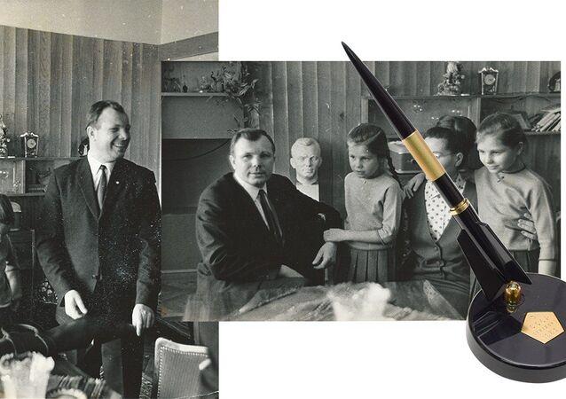 Rus Kozmonot Yuri Gagarin'e ait roket şeklindeki siyah renkli bir kalem