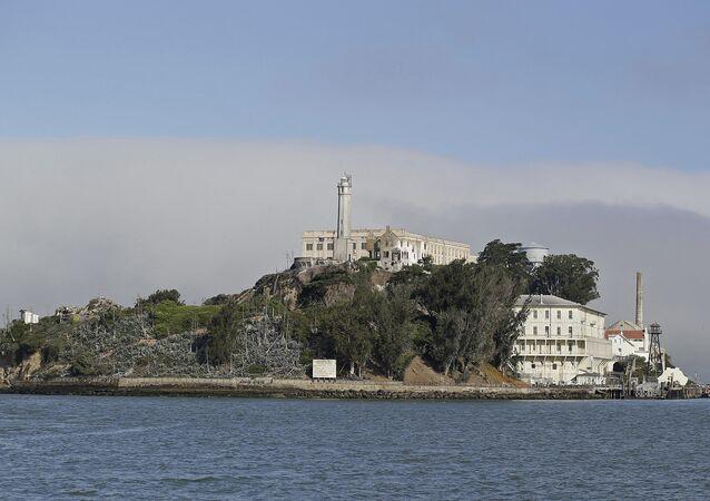 Fog lingers behind Alcatraz Island in San Francisco. (File)