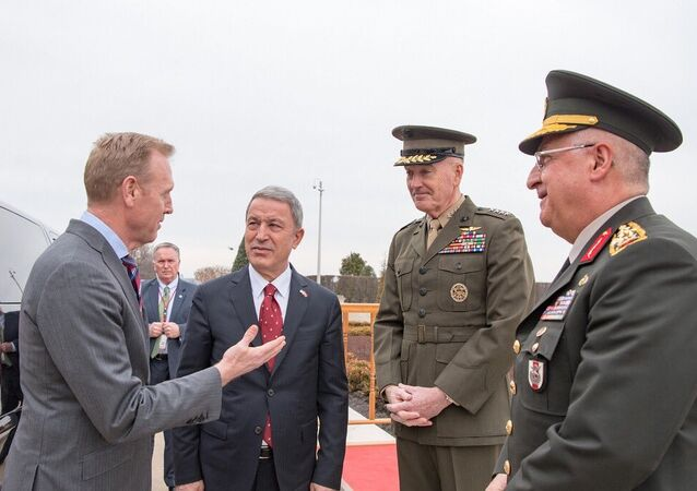 Acting Secretary of Defense Patrick Shanahan, Turkish Defense Minister Hulusi Akar, U.S. Joint Chiefs of Staff Gen. Joseph Dunford, Commander of the Turkish Armed Forces Gen. Yaşar Güler