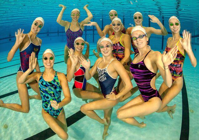 Rusya Senkronize Yüzme Milli Takımının antrenmanı