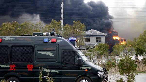 Çin'in doğusundaki Ciangsu eyaletindeki bir kimya tesisinde meydana gelen patlama - Sputnik Türkiye
