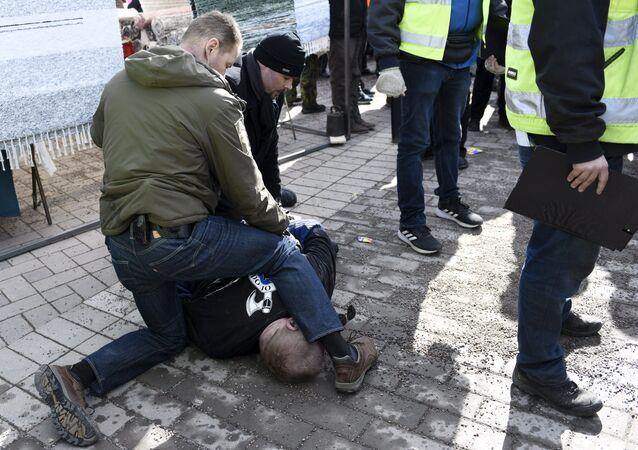 Finlandiya Dışişleri Bakanı Timo Soini'ye saldırmaya çalışan bir kişi polisler tarafından gözaltına alındı.