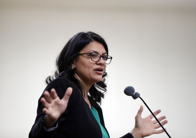 Rashida Tlaib, Democratic candidate for Michigan's 13th Congressional District, speaks at a rally in Dearborn, Mich., Friday, Oct. 26, 2018.