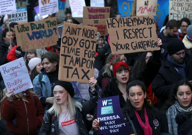 Protesters take part in the Women's March calling for equality, justice and an end to austerity in London, Britain January 19, 2019
