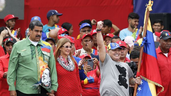 Arjantinli futbolcu Diego Maradona ve Venezüella Devlet Başkanı Nicolas Maduro - Sputnik Türkiye