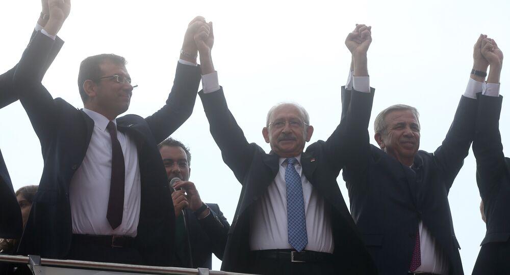 CHP Genel Başkanı Kemal Kılıçdaroğlu, CHP İstanbul Büyükşehir Belediye Başkan adayı Ekrem İmamoğlu ve CHP Ankara Büyükşehir Belediye Başkan Adayı Mansur Yavaş