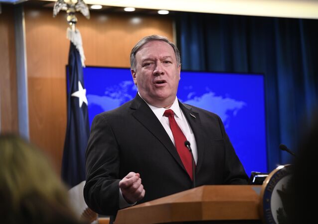 Secretary of State Mike Pompeo answers a question during a news conference on Tuesday, March 26, 2019, at the Department of State in Washington