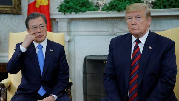 ABD Başkanı Donald Trump ve Güney Kore Devlet Başkanı Moon Jae-in - Sputnik Türkiye