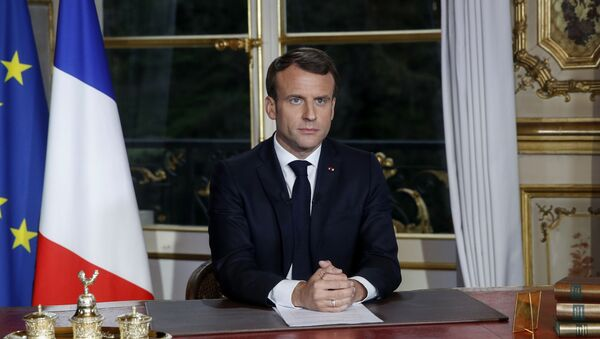 Fransa Cumhurbaşkanı Emmanuel Macron, Notre Dame yangınının ardından Elysee Sarayı'nda 'ulusa sesleniş' konuşması yaptı.  - Sputnik Türkiye