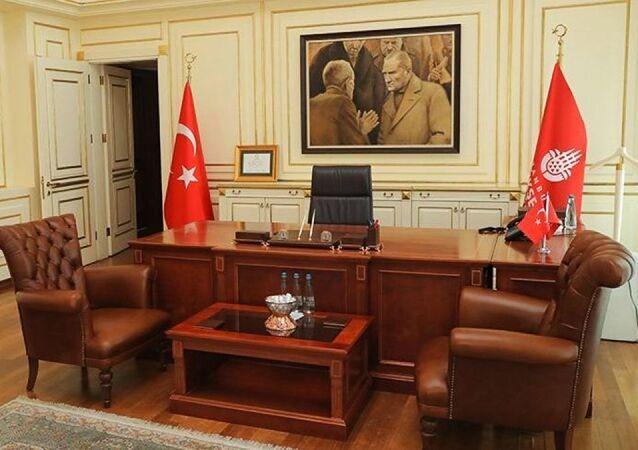 İstanbul Büyükşehir Belediyesi (İBB) Başkanı Ekrem İmamoğlu'nun makam odası