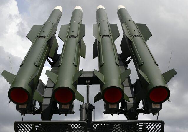 MILEX-2019  Uluslararası Savunma Sanayii Fuarı'nda görücüye çıkan Rus Buk-M2 hava savunma sistemi.