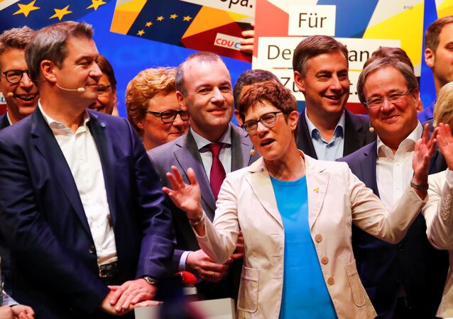 Annegret Kramp-Karrenbauer, Chairwoman of Germany's Christian Democratic Union party CDU, Markus Soeder, leader of Bavaria's Christian Social Union party CSU and Manfred Weber, the EU candidate of the two German conservative sister parties are seen at their kickoff campaign for the European elections in Muenster, Germany,