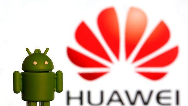 3 boyutlu Andorid logosu ile Huawei logosu - Sputnik Türkiye