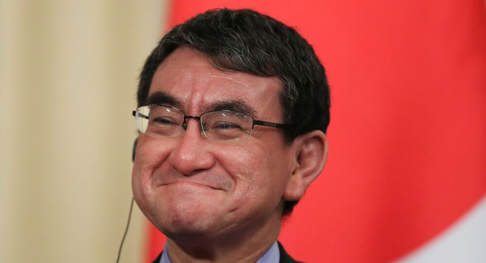 Japanese Foreign Minister Taro Kono reacts during a news conference with his Russian counterpart Sergei Lavrov in Moscow, Russia May 10, 2019. REUTERS/Evgenia Novozhenina