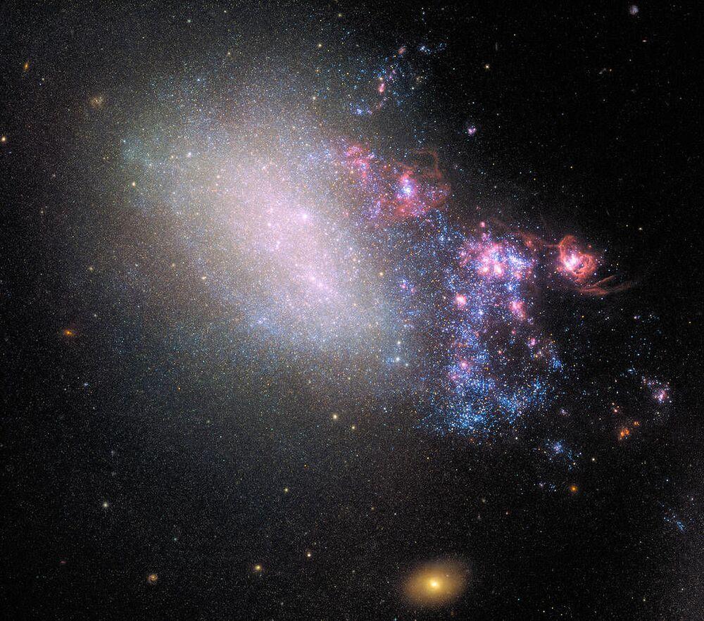Hubble uzay teleskobu, Canes Venatici takımyıldızındaki NGC 4485 galaksisini görüntüledi. NGC 4485, milyonlarca yıl önce komşu galaksiyle çarpışmasının izlerini taşıyor.