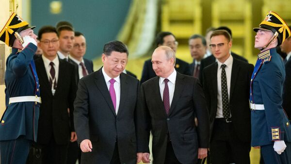 Putin 5 Haziran 2019'da Şi'yi Kremlin'de törenle ağırlarken - Sputnik Türkiye