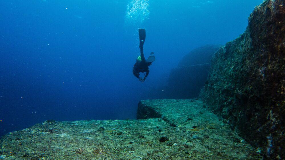 Japonya'nın Rükü Adaları'nın açıklarında su altından görüntü.