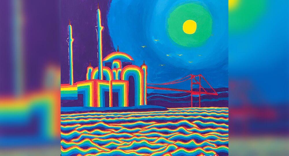 Ressam Olga Keleş'in 'İstanbul Gecesinin Büyüsü' adlı eseri