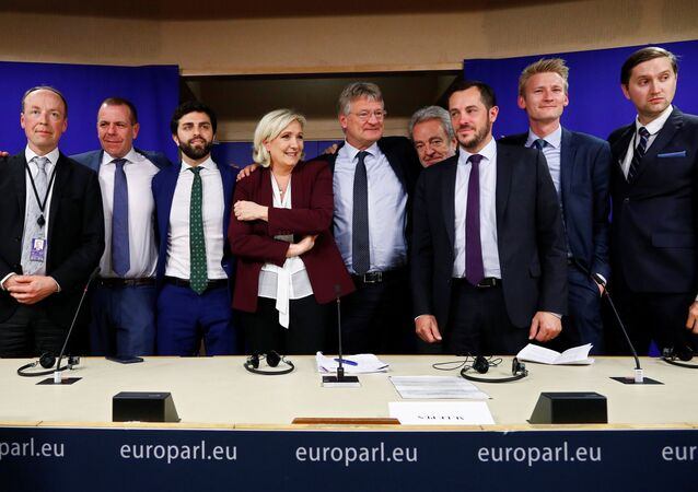 Finnish MEP Jussi Halla-Aho, Austrian MEP Harald Vilimsky, Italian MEP Marco Zanni, French far-right National Rally (Rassemblement National) party leader Marine Le Pen, German MEP Jorg Meuthen, Belgian MEP Gerolf Annemans, French MEP Nicolas Bay, Danish MEP Peter Kofod and Estonian MEP Jaak Madison pose after a joint news conference on the formation of a new far-right European Parliament group to represent nationalists' interests at the EU Parliament in Brussels, Belgium June 13, 2019.  REUTERS/Francois Lenoir
