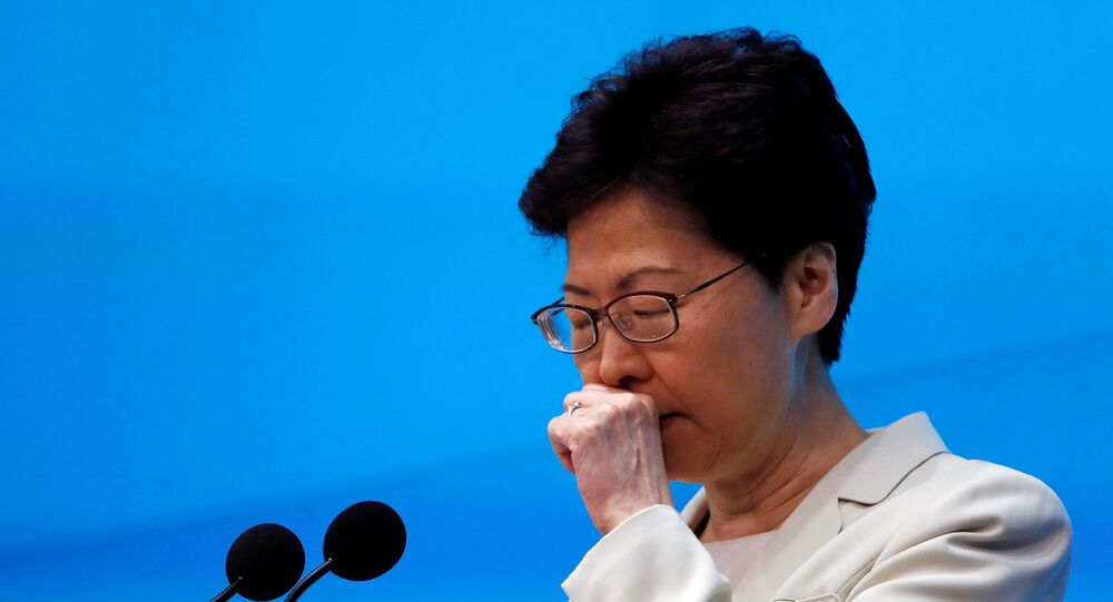 Hong Kong Chief Executive Carrie Lam attends a news conference in Hong Kong, China, June 18, 2019. REUTERS/Tyrone Siu