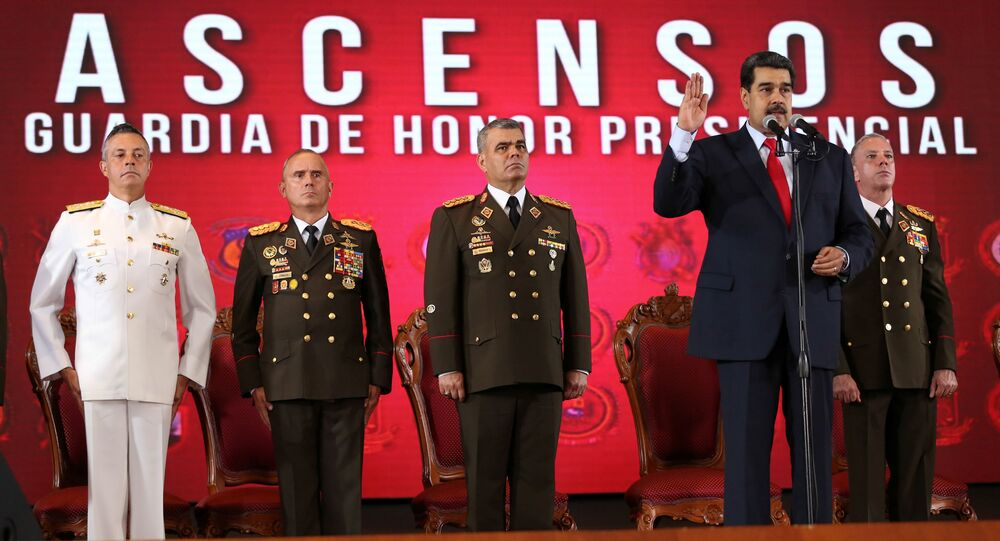 Venezuela's President Nicolas Maduro attends a promotion ceremony for officers of the presidential honour guard, in Caracas, Venezuela June 18, 2019. Miraflores Palace/Handout via REUTERS ATTENTION EDITORS - THIS PICTURE WAS PROVIDED BY A THIRD PARTY.
