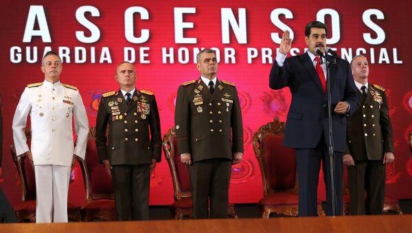Nicolas Maduro başkanlık muhafızları terfi töreninde - Sputnik Türkiye