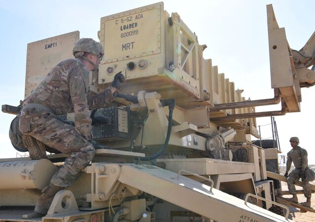 Specialist Tevin Howe and Specialist Eduardo Martinez take part in training on a U.S. Army Patriot surface-to-air missile launcher at Al Dhafra Air Base, United Arab Emirates, January 12, 2019. Picture taken January 12, 2019.  U.S. Air Force/Tech. Sgt. Darnell T. Cannady/Handout via REUTERS.  ATTENTION EDITORS - THIS IMAGE WAS PROVIDED BY A THIRD PARTY