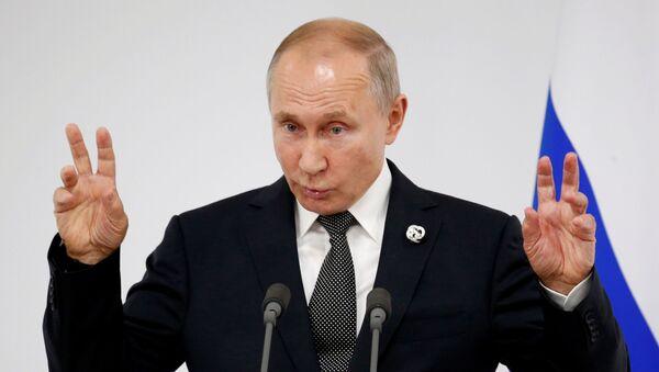 Vladimir Putin G20 zirvesinde gazetecilerin sorularını yanıtlarken - Sputnik Türkiye