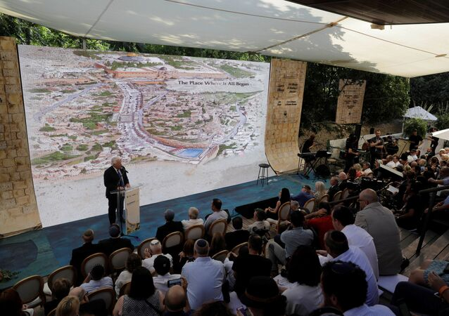 U.S. Ambassador to Israel David Friedman speaks during the opening of an ancient road at the City of David, a popular archaeological and tourist site in the Palestinian neighborhood of Silwan in East Jerusalem June 30, 2019.  Tsafrir Abayov/Pool via REUTERS