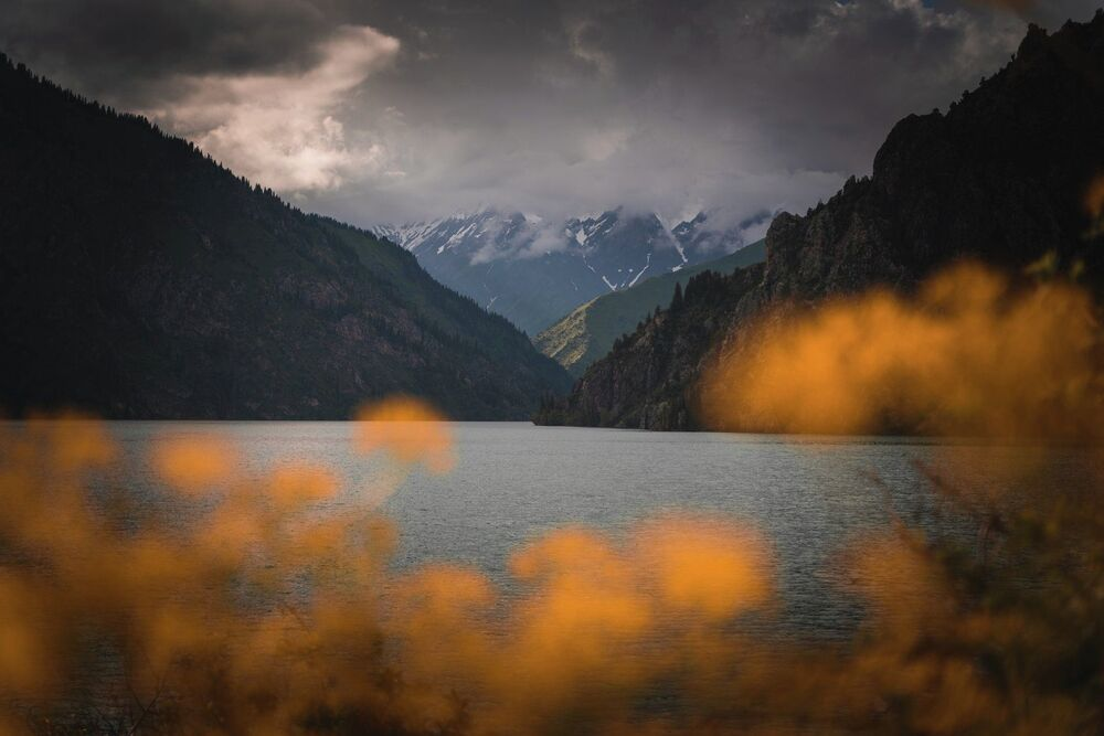 Kırgızistan'daki Sarı Çelek Gölü'nün manzarası.