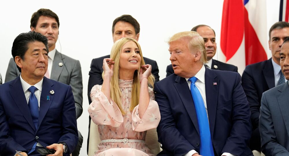 Japan's Prime Minister Shinzo Abe, U.S. President Donald Trump and White House senior advisor Ivanka Trump attend a women's empowerment event during the G20 leaders summit in Osaka, Japan, June 29, 2019. REUTERS/Kevin Lamarque