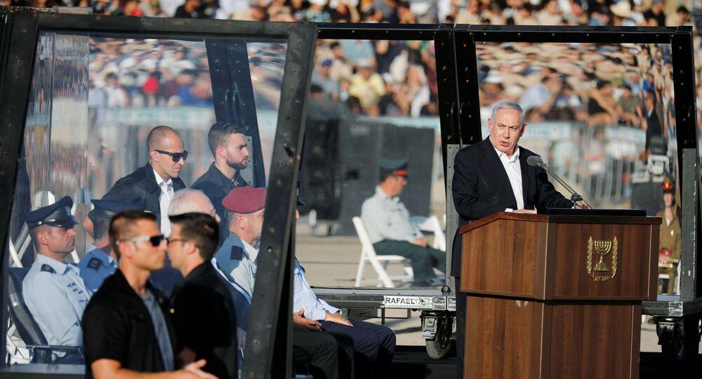 Israeli Prime Minister Benjamin Netanyahu speaks at the Israeli Air Force pilots' graduation ceremony at Hatzerim air base in southern Israel June 27, 2019. REUTERS/Amir Cohen