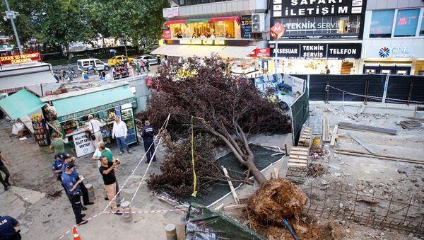 Ankara'da akşam saatlerinde etkili olan fırtınada devrilen ağaç 3 kişinin yaralanmasına neden oldu - Sputnik Türkiye
