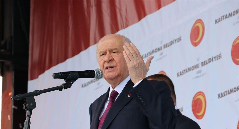 MHP Genel Başkanı Devlet Bahçeli, Kastamonu Belediyesi hizmet binası önünde vatandaşlara hitap etti.