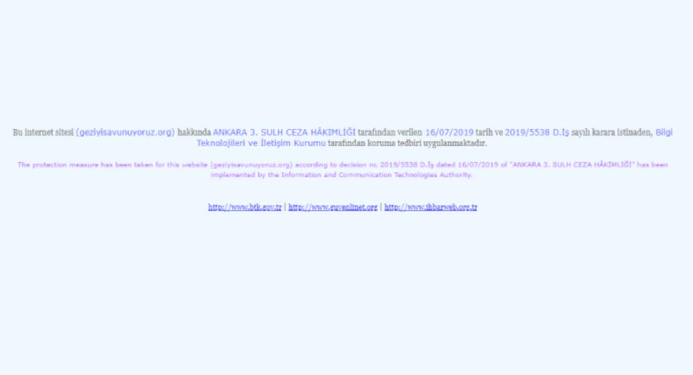 Gezi Parkı davası için açılan siteye erişim engeli