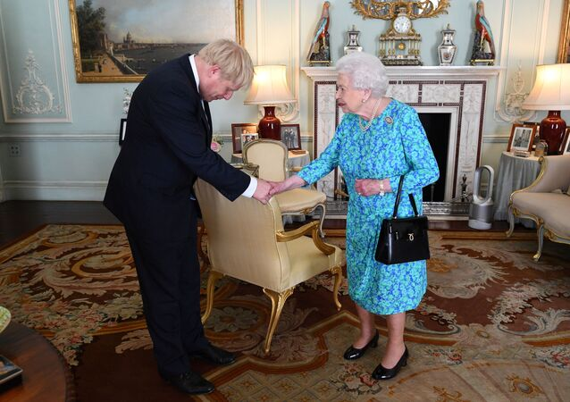 Queen Elizabeth II welcomes Boris Johnson during an audience in Buckingham Palace, where she will officially recognise him as the new Prime Minister, in London, Britain July 24, 2019. Victoria Jones/Pool via REUTERS