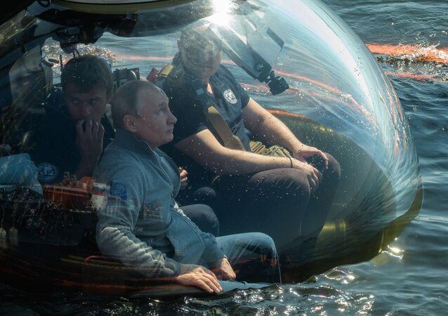 Rusya lideri Vladimir Putin, 2. Dünya Savaşı yıllarında Fin Körfezi'nde batan 'Ş-308 Semga' denizaltısının enkazının bulunduğu noktaya bugün batiskafla yaptığı dalışta gördüğü objenin kendisinde canlı izlenimler bıraktığını belirtti.