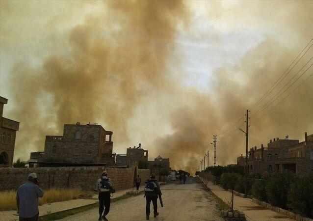 Mardin'in Nusaybin ilçesinde bulunan Bagok Dağı'nın 6 köyünün sakinleri yangının yaklaşması karşısında tahliye hazırlığına başladı.