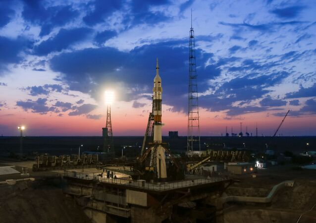 The Soyuz MS-13 spacecraft carrying the crew formed of Andrew Morgan of NASA, Alexander Skvortsov of the Russian space agency Roscosmos and Luca Parmitano of European Space Agency is set on the launchpad during the sunset at the Baikonur Cosmodrome, Kazakhstan July 20, 2019. REUTERS/Maxim Shemetov