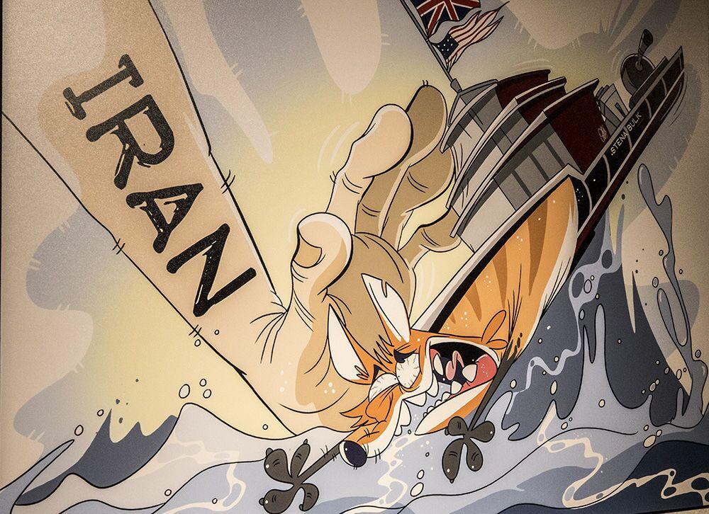 Tahran'da açılan 'Deniz Korsanı Kraliçe' karikatür sergisinde yer alan karikatürlerden biri.