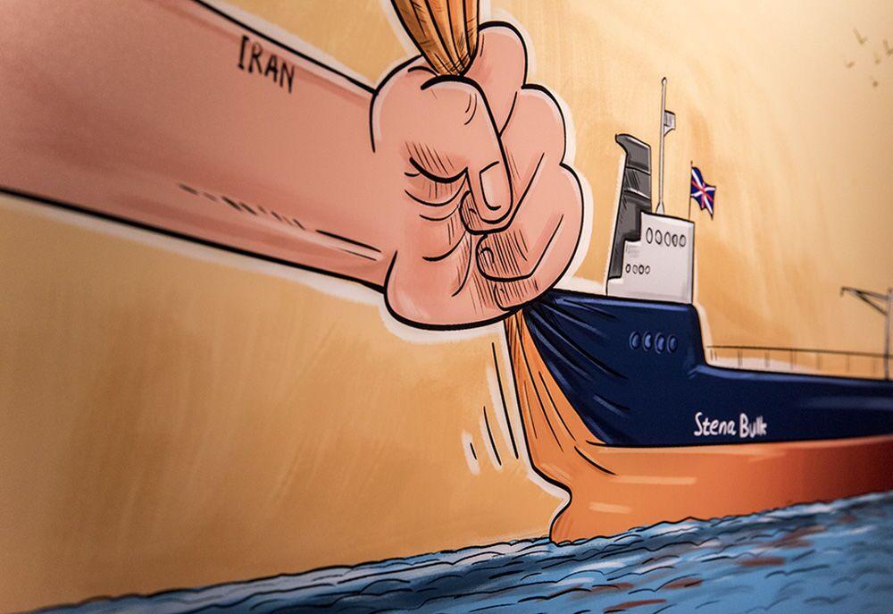 Tahran'da açılan 'Deniz Korsanı Kraliçe' karikatür sergisinde sanat severlerin beğenisine sunulan karikatürlerden biri.