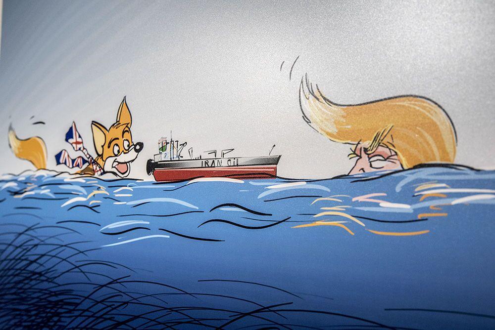 Tahran'da düzenlenen 'Deniz Korsanı Kraliçe' karikatür sergisinden bir kare.
