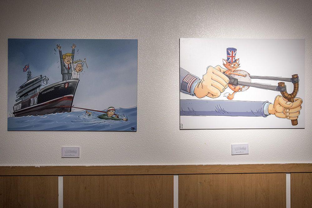 Tahran'da açılan 'Deniz Korsanı Kraliçe' karikatür sergisinde yer alan karikatürlerden bazıları.