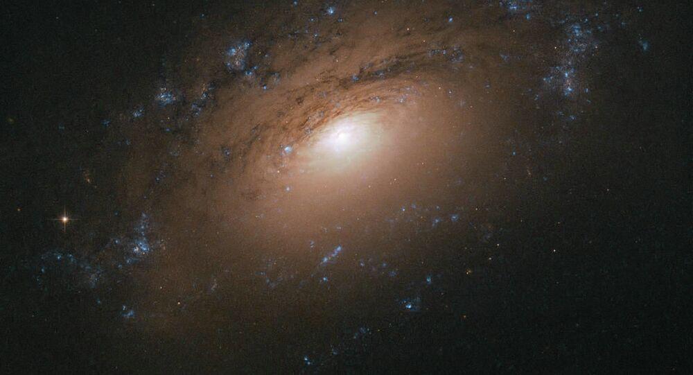 Hubble Uzay Teleskobu tarafından çekilen NGC 3169 isimli spirak galaksi görüntüsü.