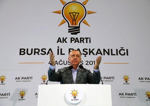 Türkiye Cumhurbaşkanı Recep Tayyip Erdoğan, AK Parti Bursa İl Başkanlığı'nca Merinos Atatürk Kültür ve Kongre Merkezi'nde düzenlenen Teşkilat Yemeği'ne katılarak bir konuşma yaptı.