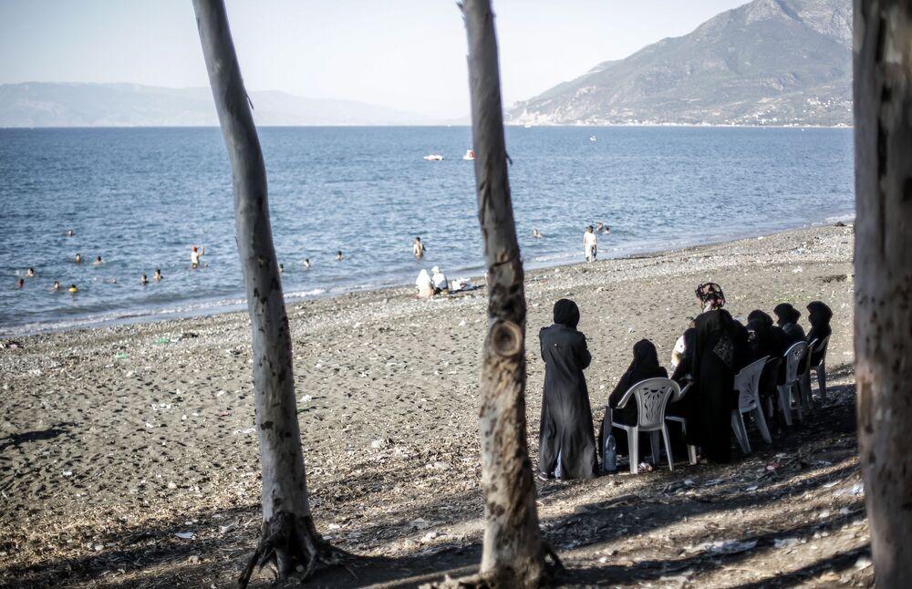 Suriye'nin Lazkiye bölgesindeki bir plajda çekilen kare.