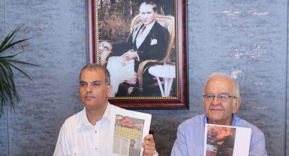 Otobüs Yangınlarını Önleme Derneği Başkanı Selim Gediz ve Genel Sekreteri Tarhan Aslan,