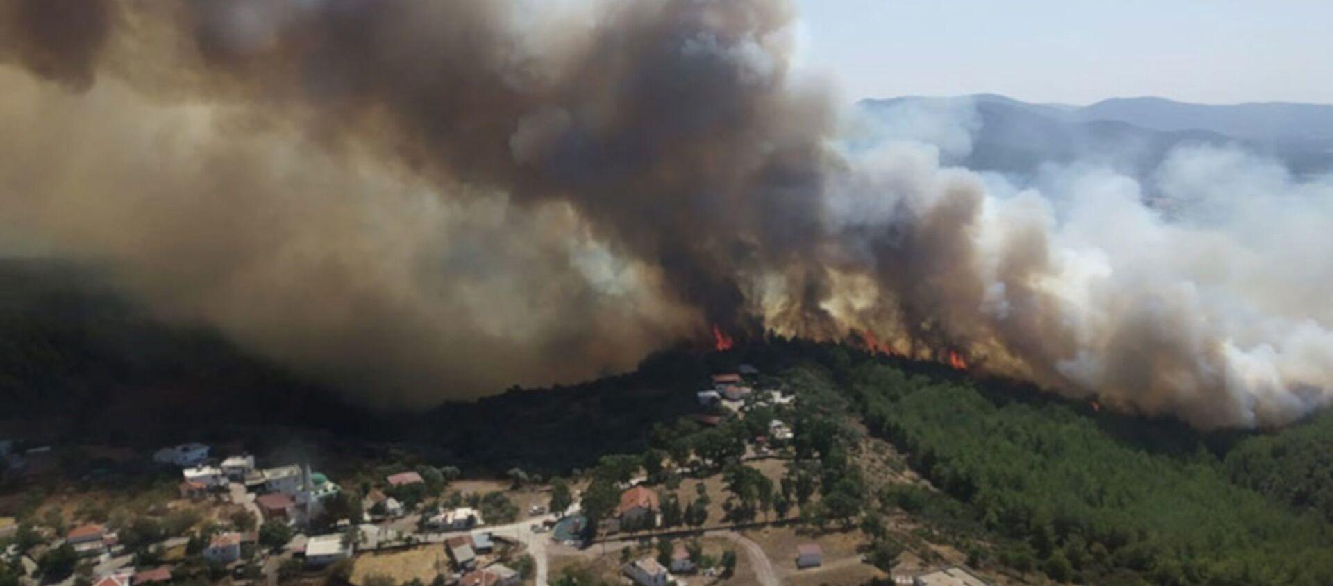 Bodrum ve Milas'ta orman yangını; alevler köylere ulaştı, evlerini terk ettiler - Sputnik Türkiye, 1920, 09.08.2021